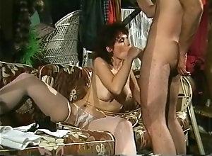 Brunette,Nylon,Dark Hair,nice tits,Sucking Horny brunette...