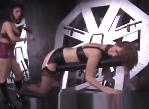 Lesbian,Brunette,Vintage,Classic,Retro,Latex,BDSM,Femdom,Bondage,Fetish,Mistress,Spanking,Knockers,Screaming,Slave Busty slave gets...
