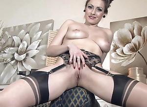 Brunette,Vintage,Classic,Retro,Big Tits,Stockings,MILF,Solo Female Sophia Delane - 13