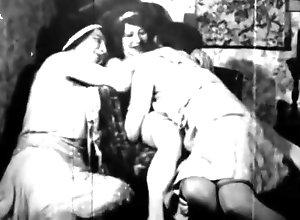 Lesbian,Brunette,Vintage,Classic,Retro,Threesome,Hairy,Stockings,Toys,Fingering,MILF 3 Graces, Vintage...
