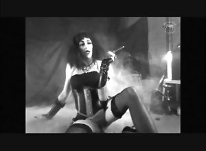 masturbate;smoking;fetish;smoking;cigarillo;vintage;tranny;transvestite,Brunette;Masturbation;Role Play;Transgender;Smoking;Verified Amateurs;Solo Trans Arabella Poppett:...